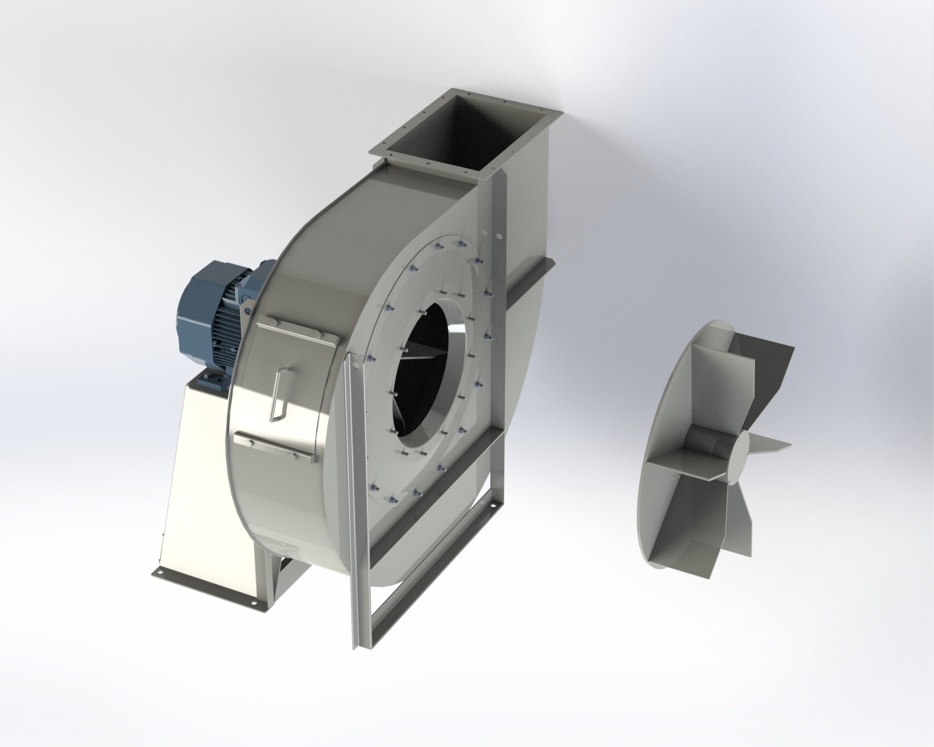 Centrifugal medium and high-pressure fan. Impeller with open blades. Directly coupled motor.