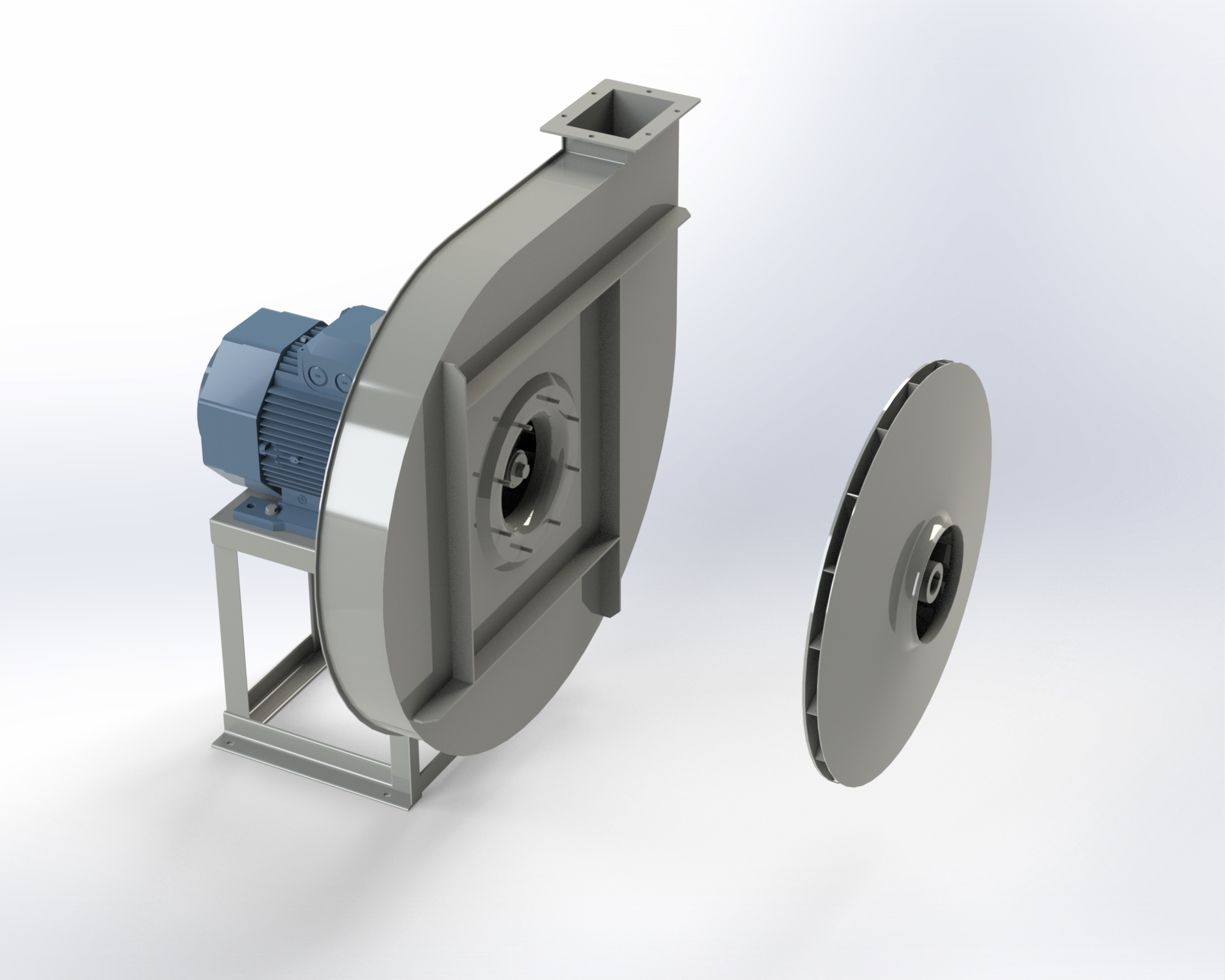 Centrifugal medium and high-pressure fan. Directly coupled motor.