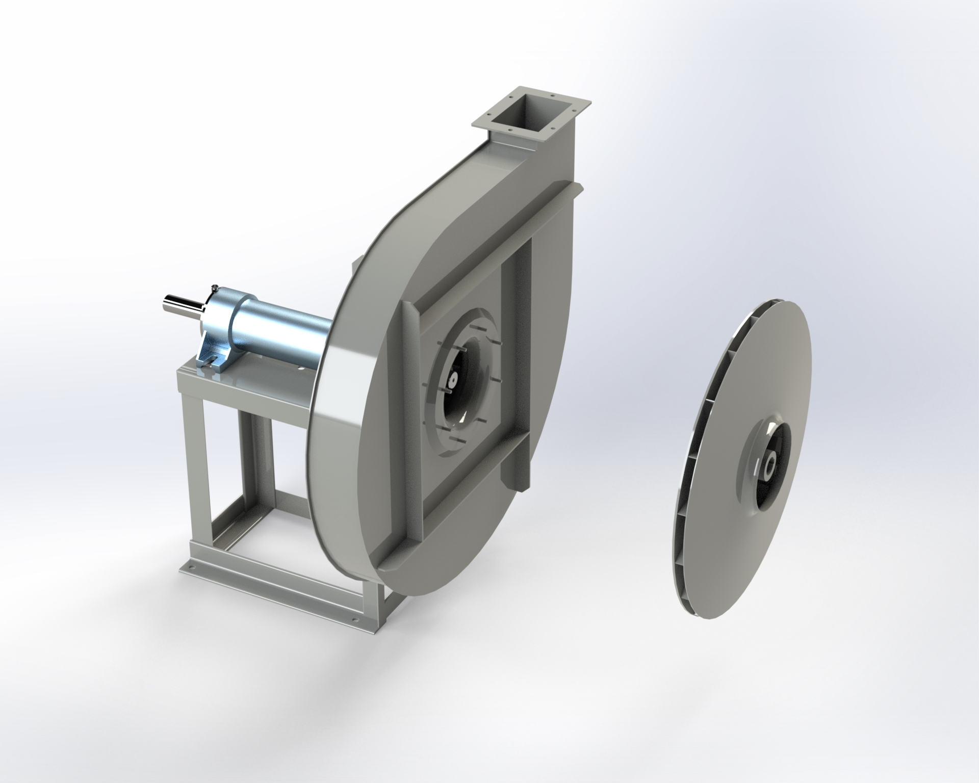 High-pressure centrifugal fan like AP. Coupling by means of belts.