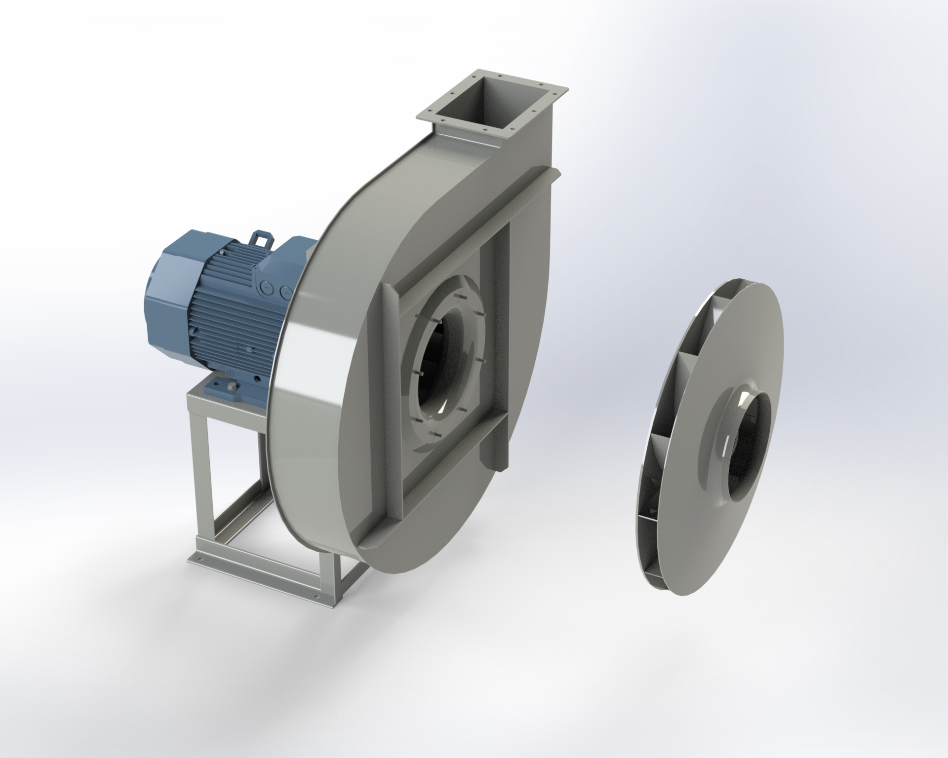 Centrifugal high-pressure fan. High efficiency reverse-blade impeller. Directly coupled motor.