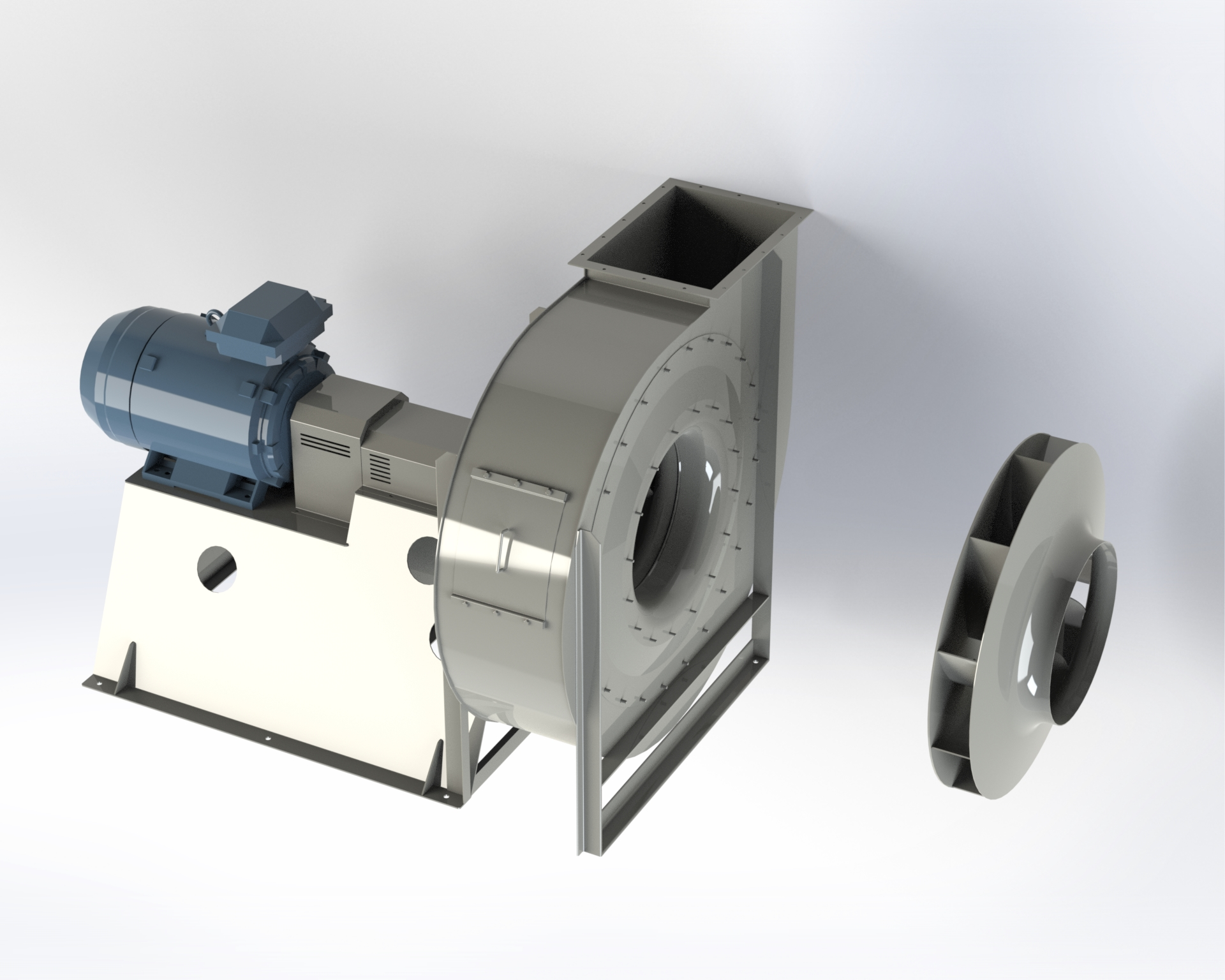 Centrifugal medium and high-pressure fan. High efficiency reverse-blade impeller.