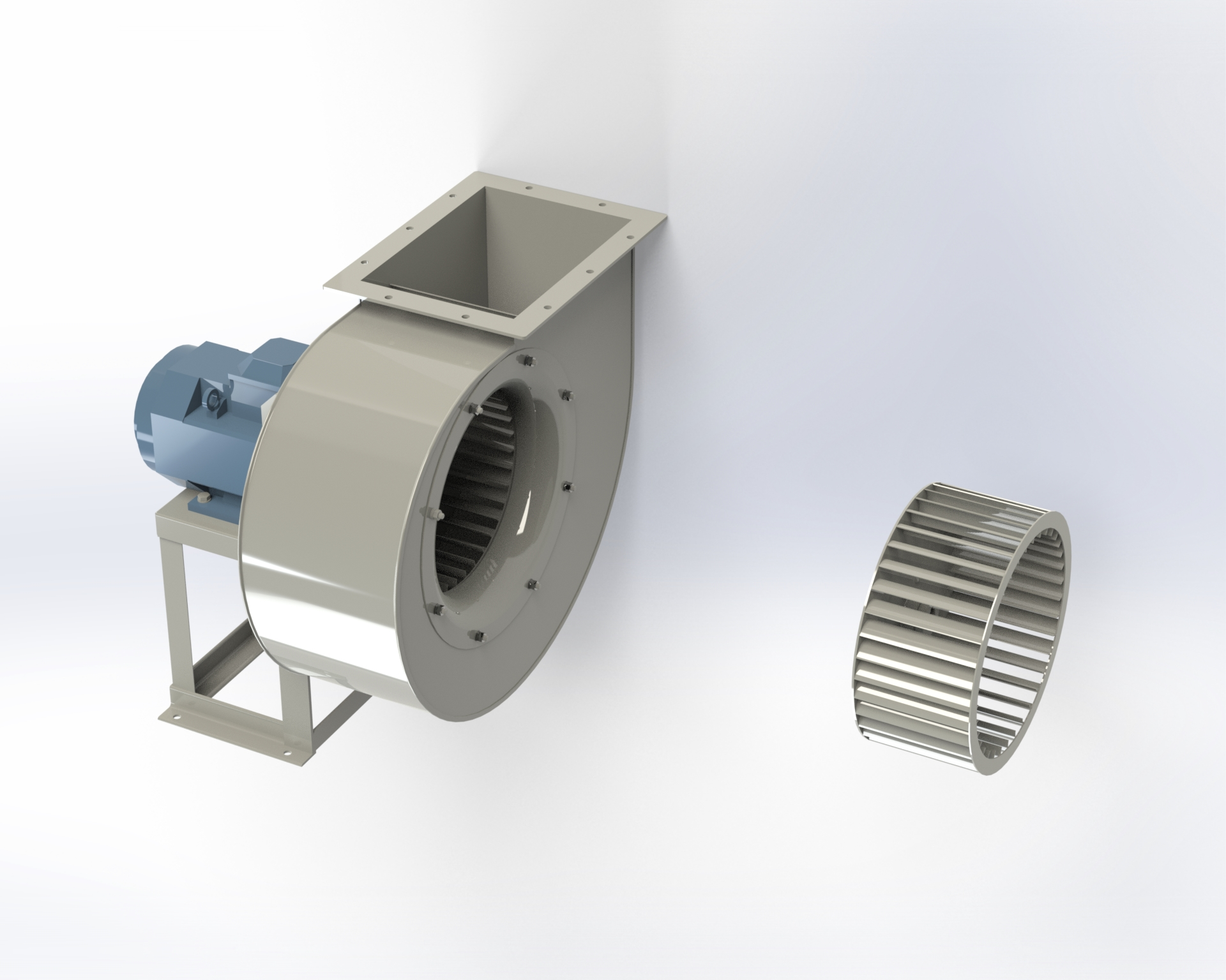 Low-pressure centrifugal fan. Impeller with blades curved forward. Directly coupled motor.