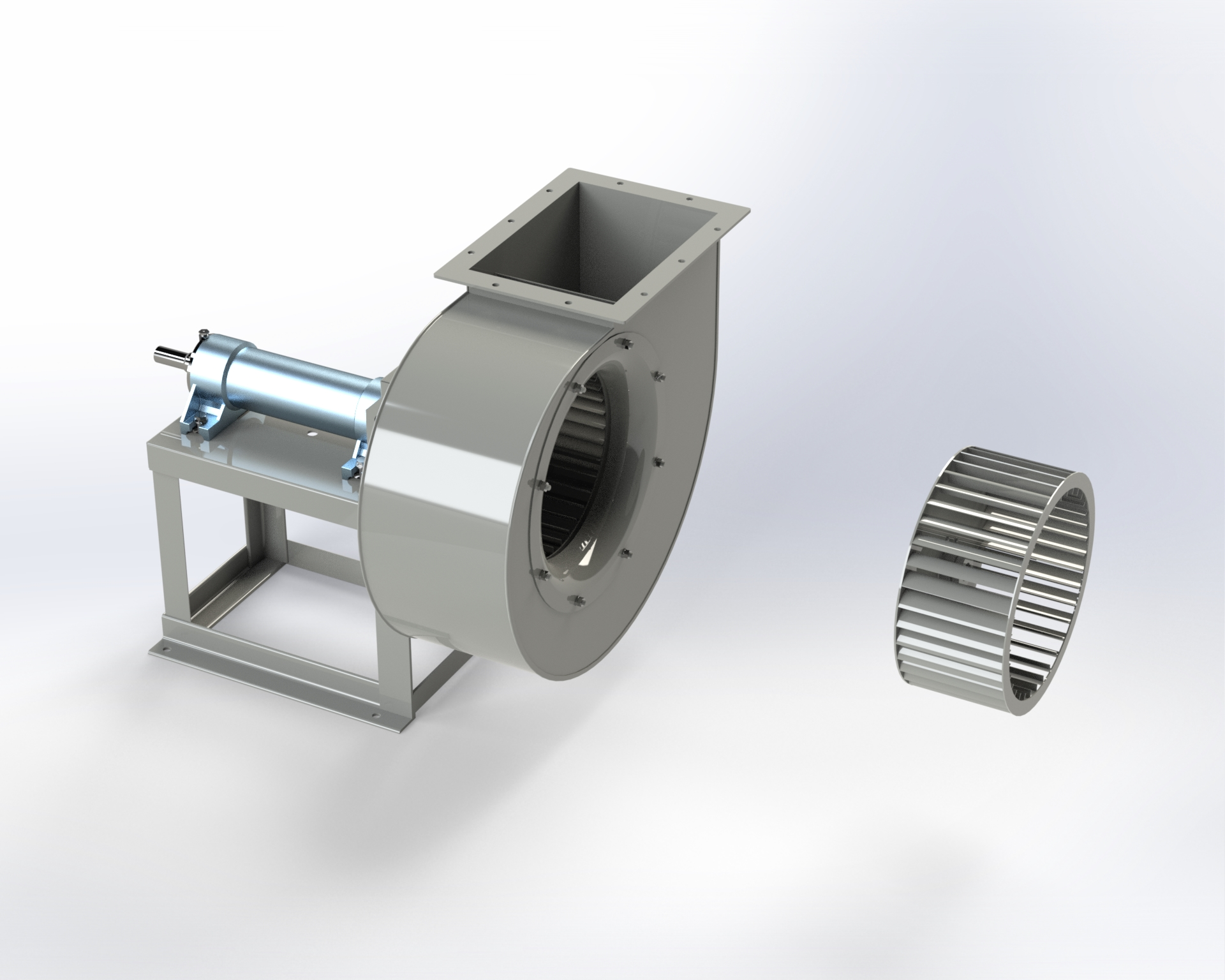 Low-pressure centrifugal fan. Impeller with blades curved forward. Belt drive.