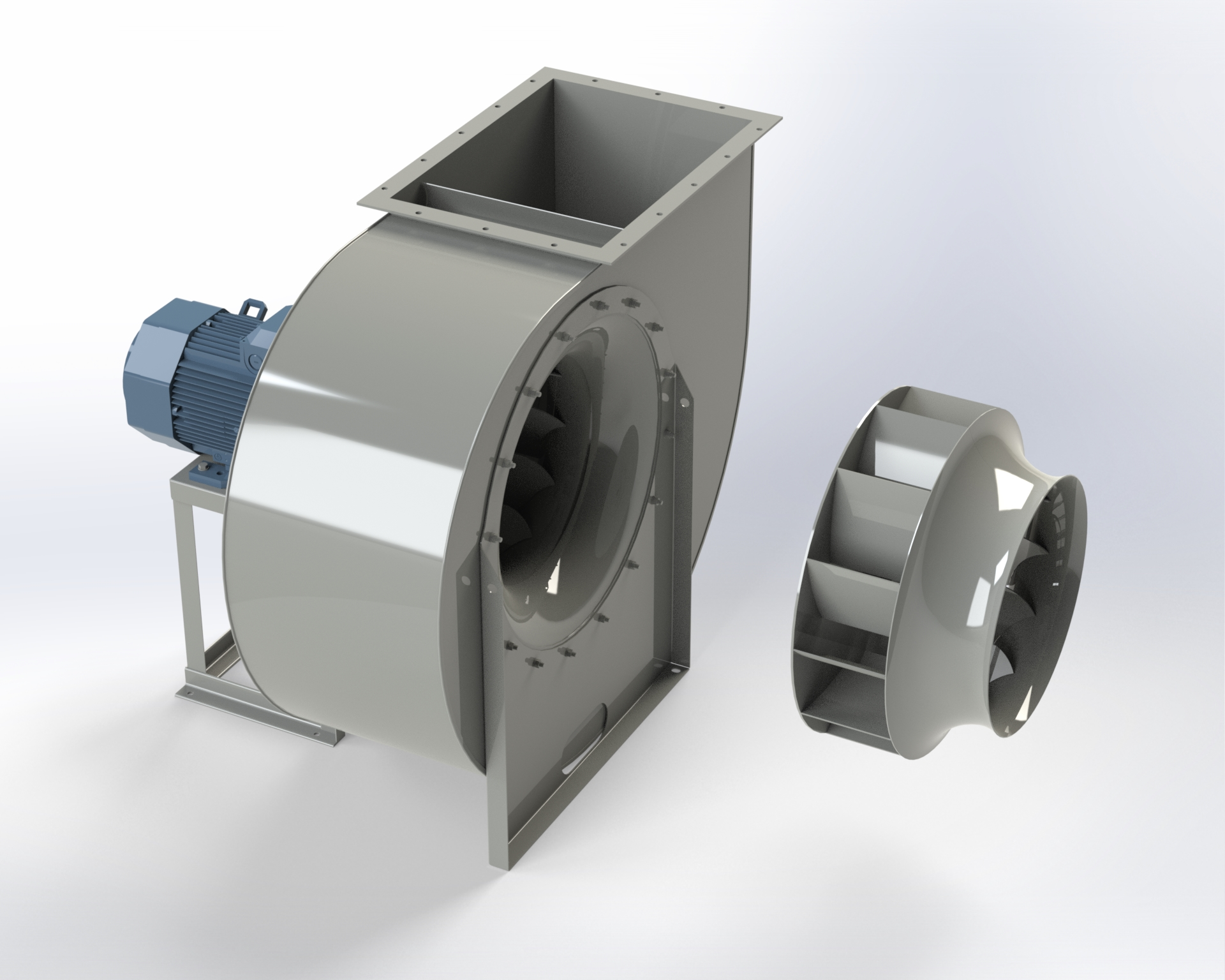 Low-pressure centrifugal fan. High efficiency and low-noise reverse-blade impeller. Directly coupled motor.
