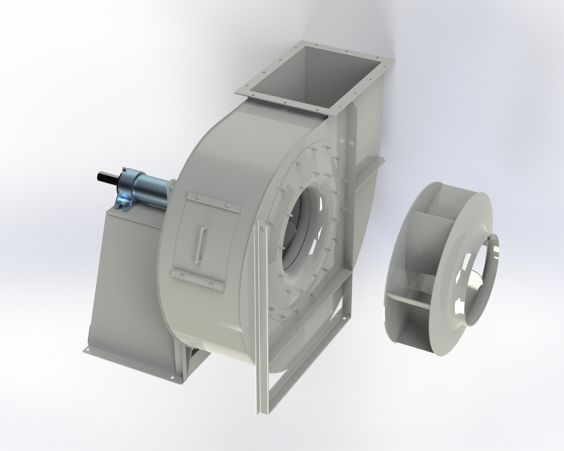 Centrifugal low and medium-pressure fan. High efficiency impeller with special