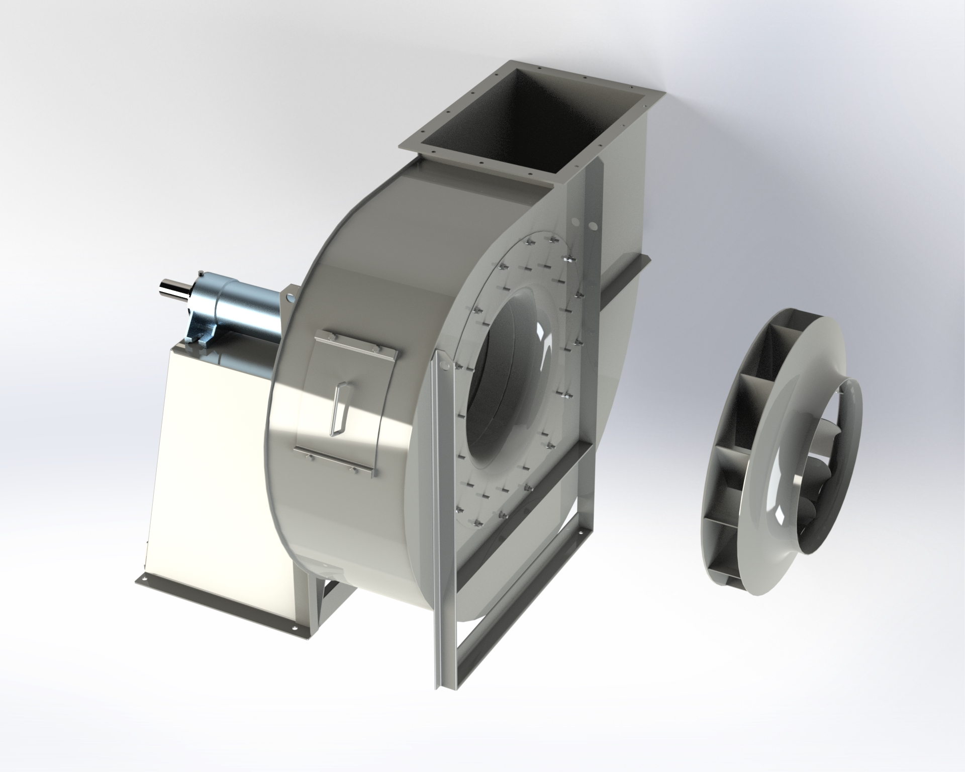 High and medium-pressure centrifugal fan. High efficiency and low-noise reverse-blade impeller. Belt coupling .
