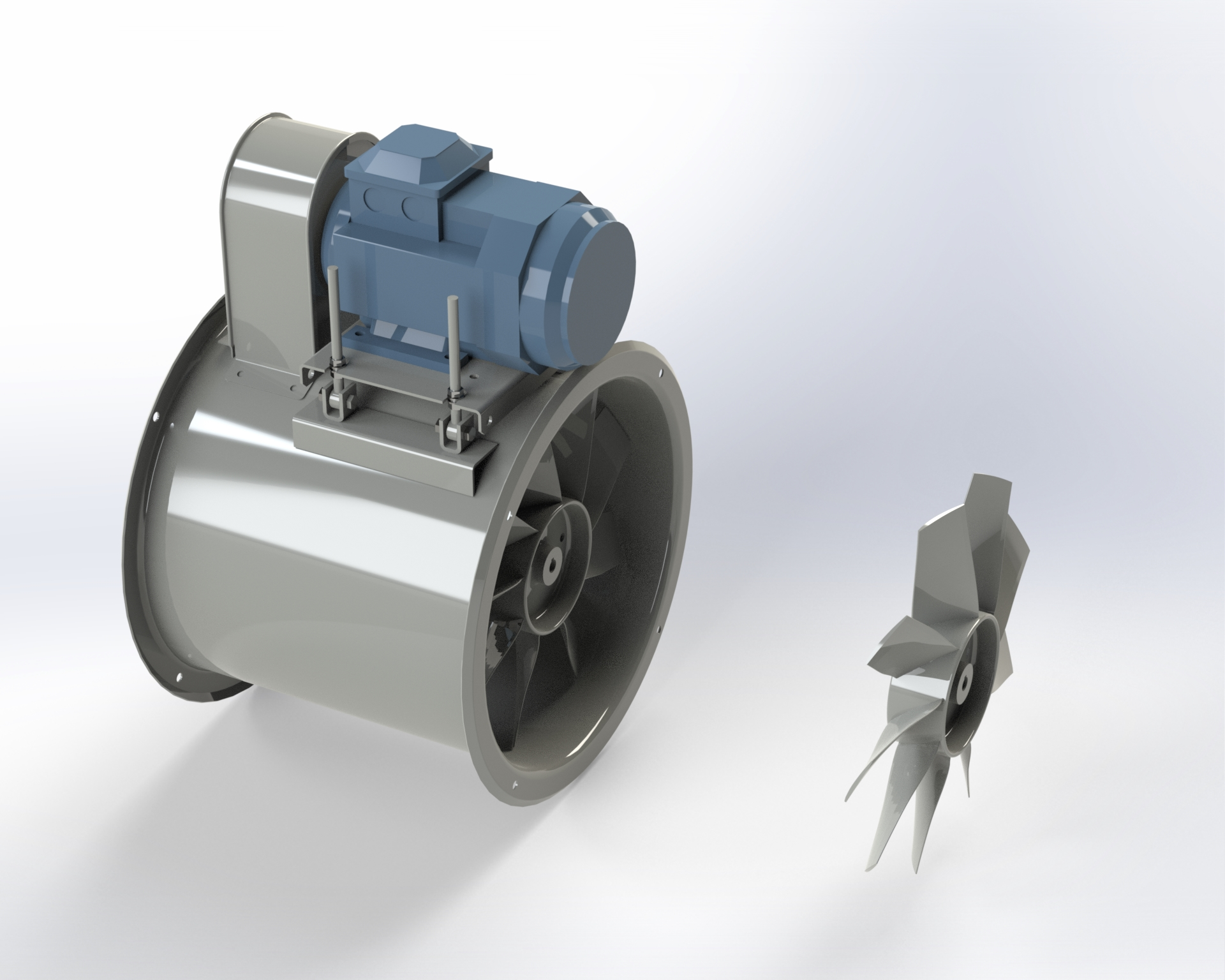 Transmission-drive axial-flow fan with light alloy die-cast impeller with wing-profile blades.