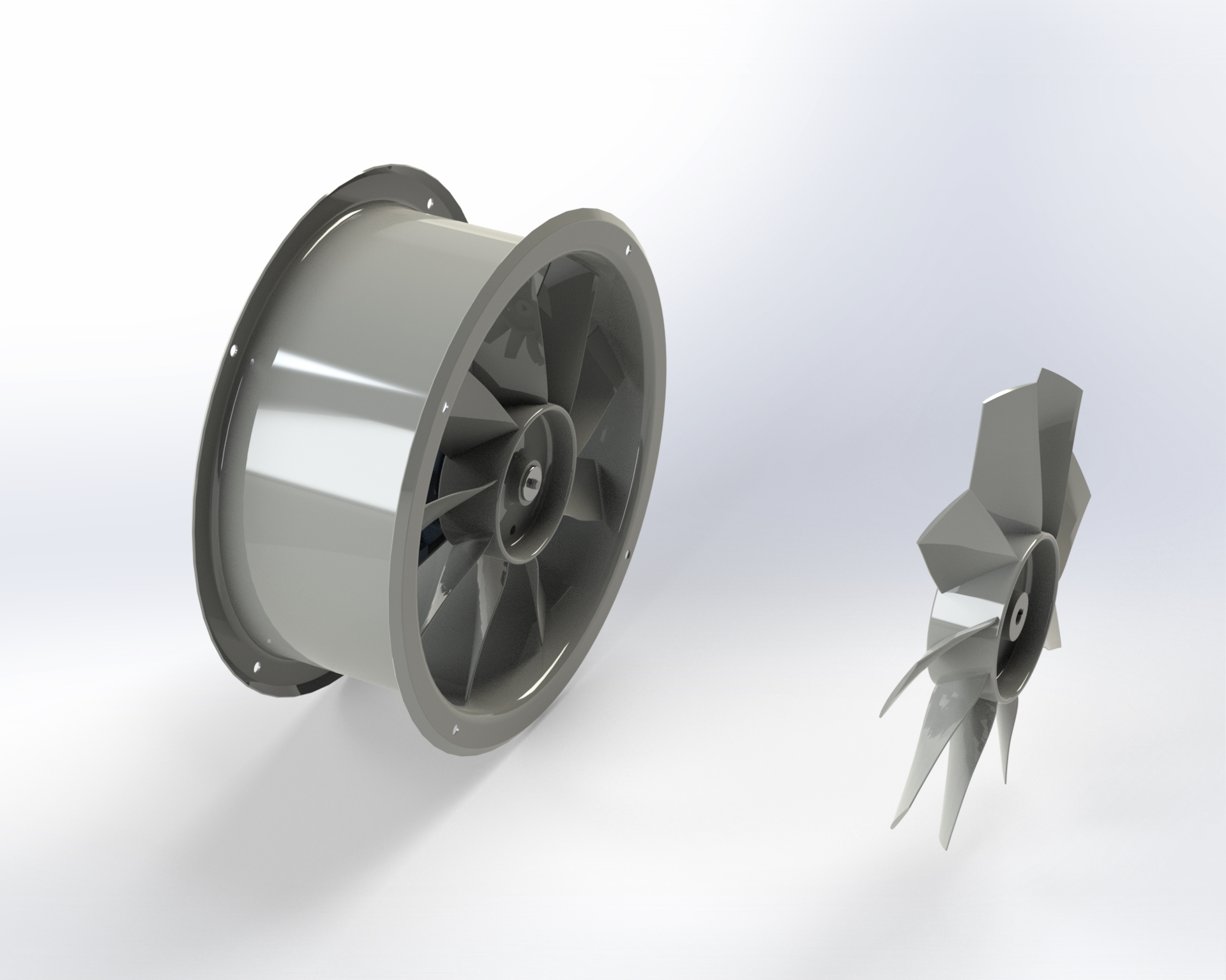 Axial-flow fan with light alloy die-cast impeller with wing-profile blades. Double flange ducting drum. Directly coupled motor.