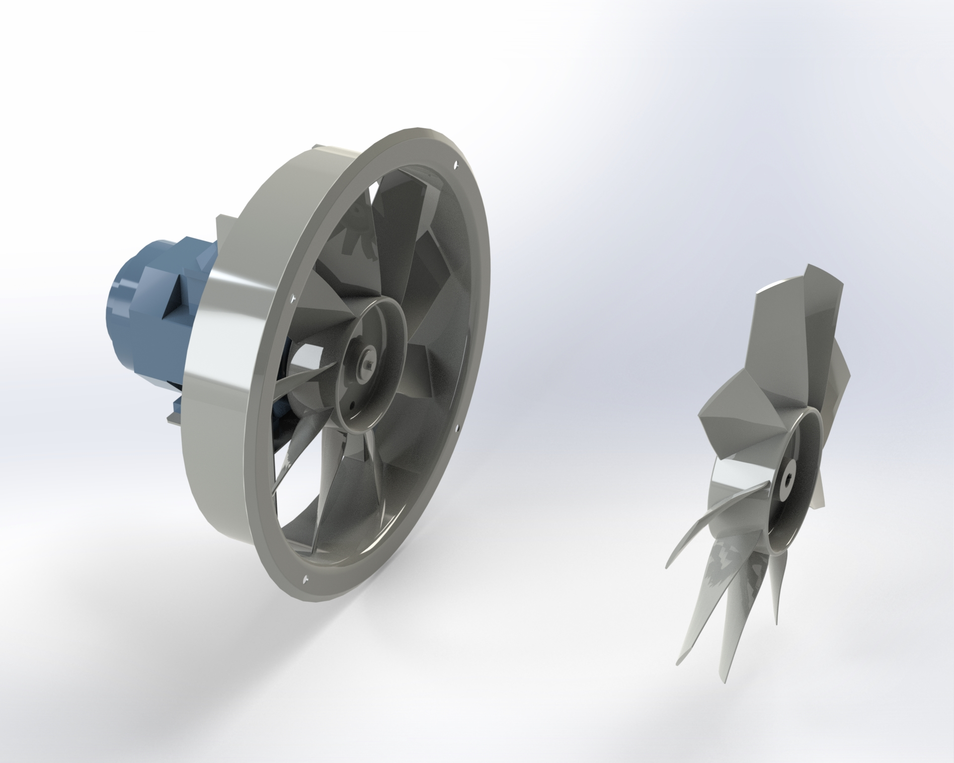 Axial-flow fan with light alloy die-cast impeller with wing-profile blades. Single flange ducting drum. Directly coupled motor.