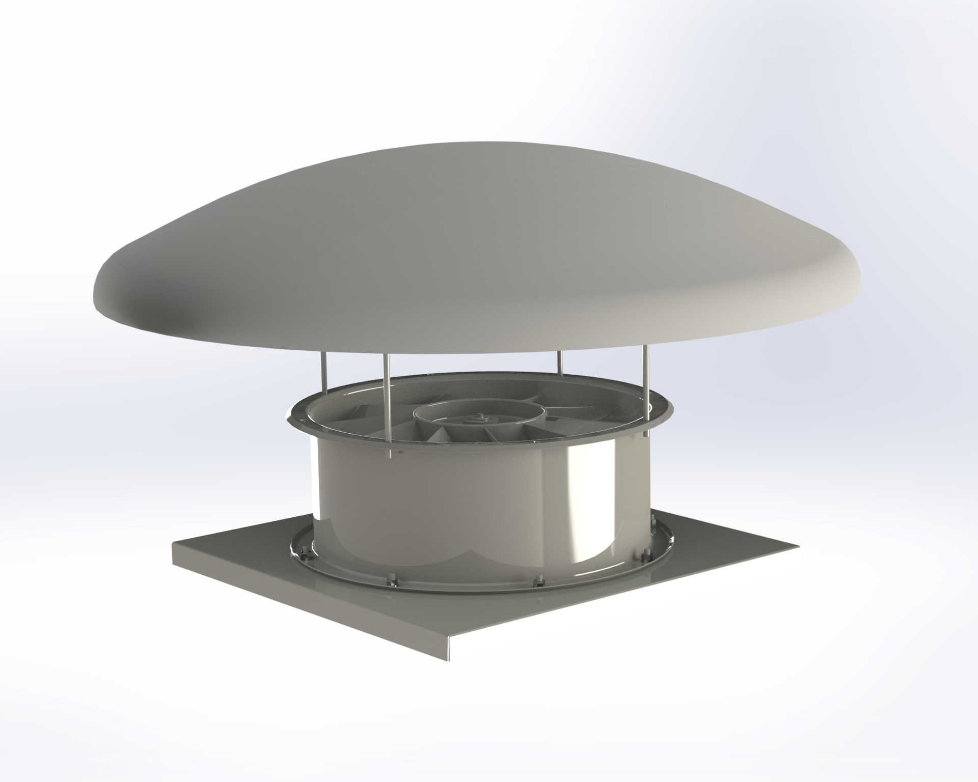 Axial-flow fan with light alloy die-cast impeller with wing-profile blades.