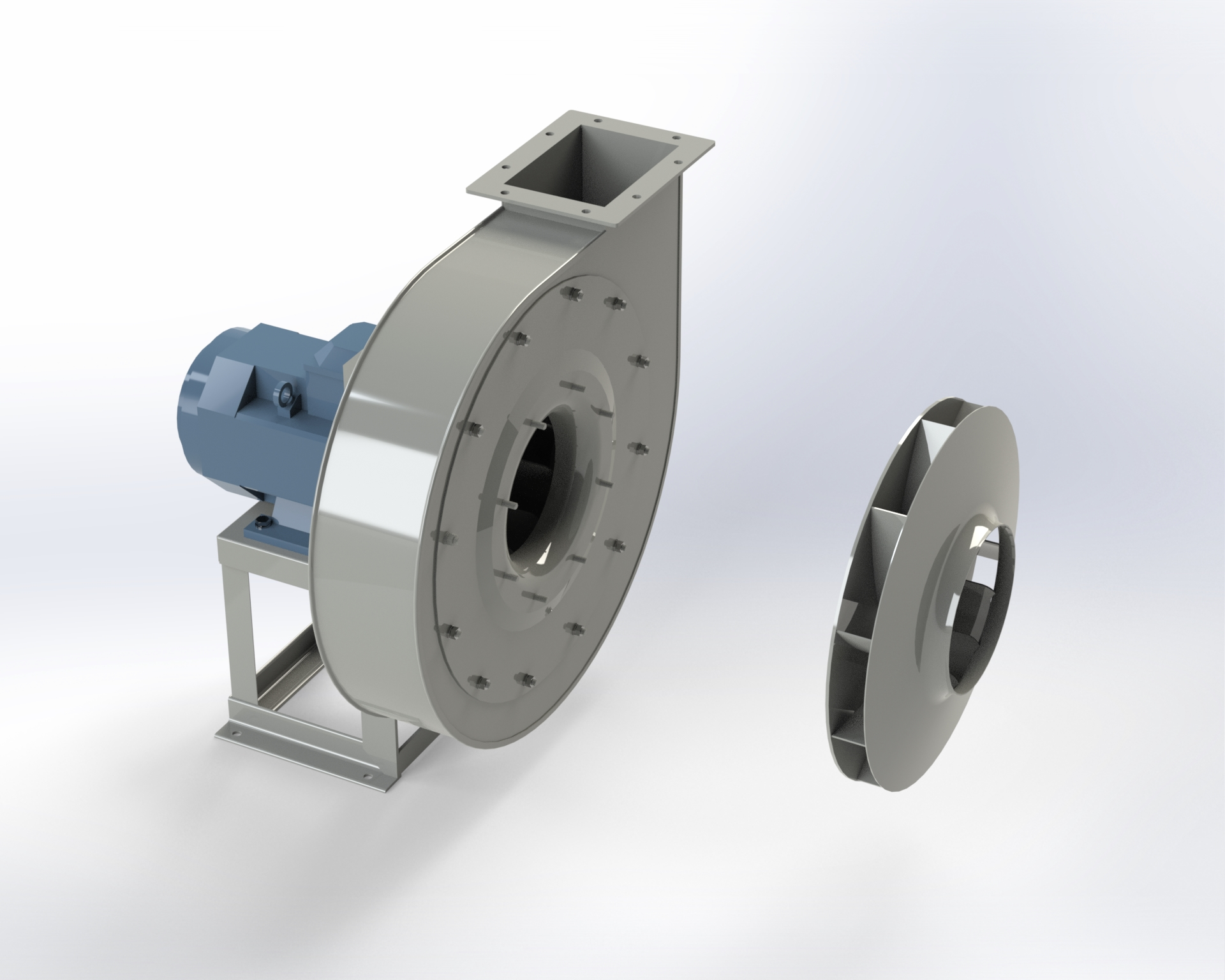 Low and medium-pressure centrifugal fan. High efficiency and low-noise reverse-blade impeller. Directly coupled motor.