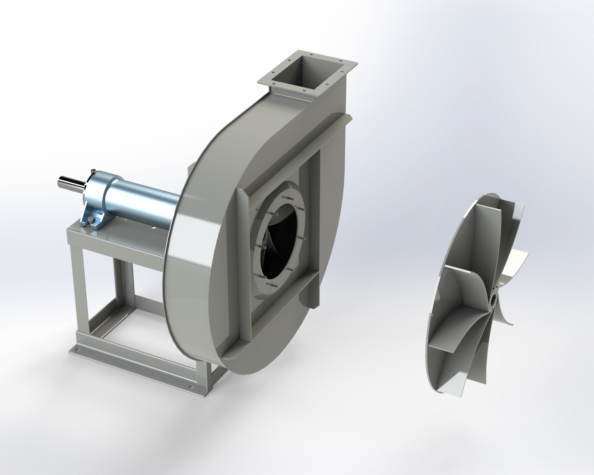 Centrifugal medium and high-pressure fan. Impeller with open blades. Belt drive.