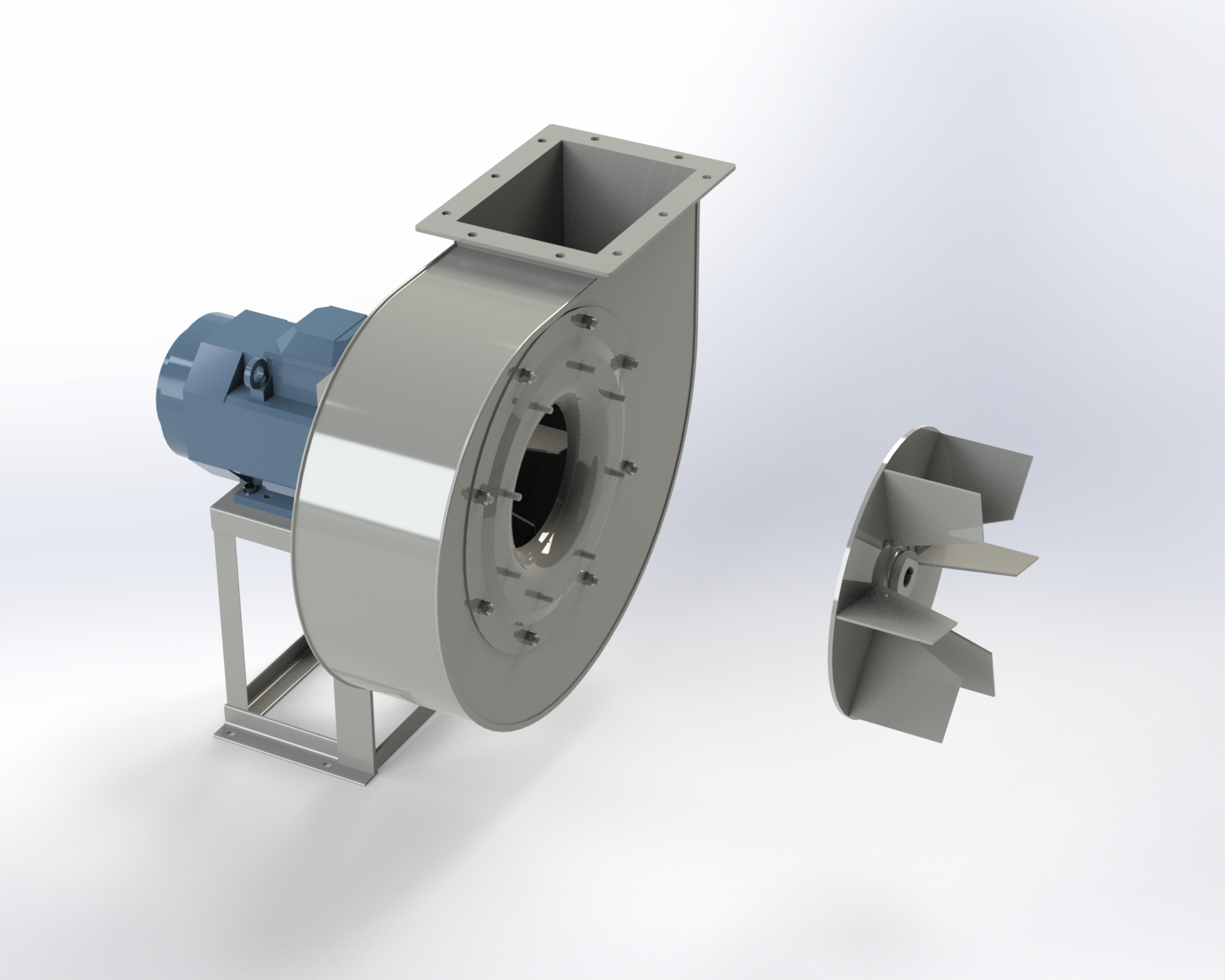 Centrifugal low and medium-pressure fan. Open blade impeller. Directly coupled motor.