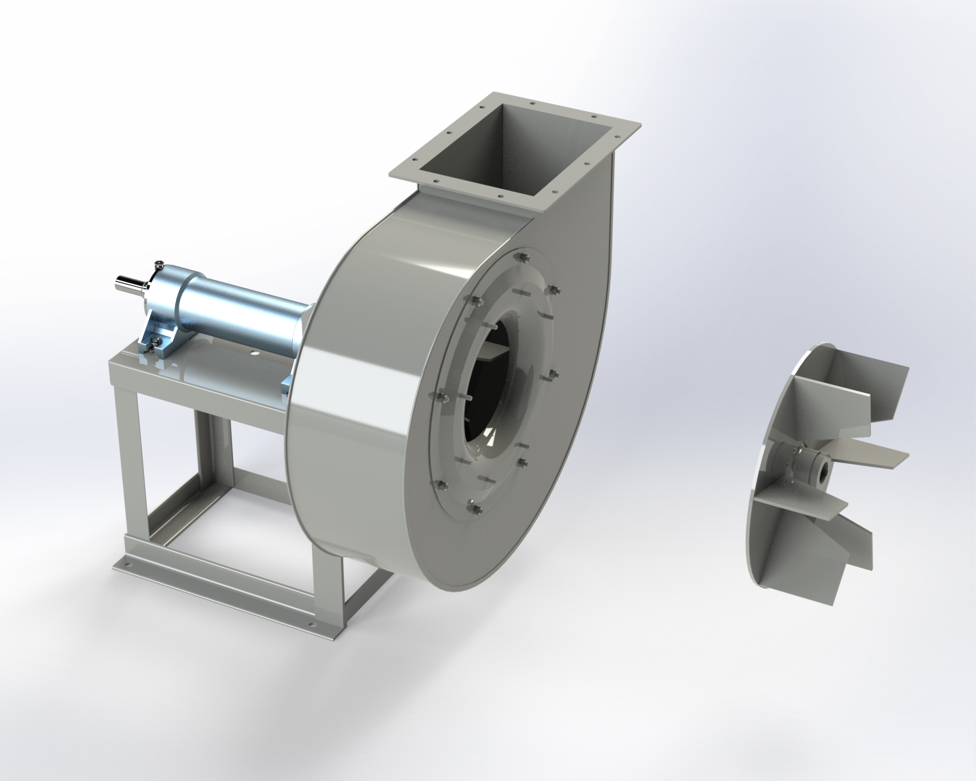 Centrifugal low and medium-pressure fan. Open blade impeller. Belt drive.