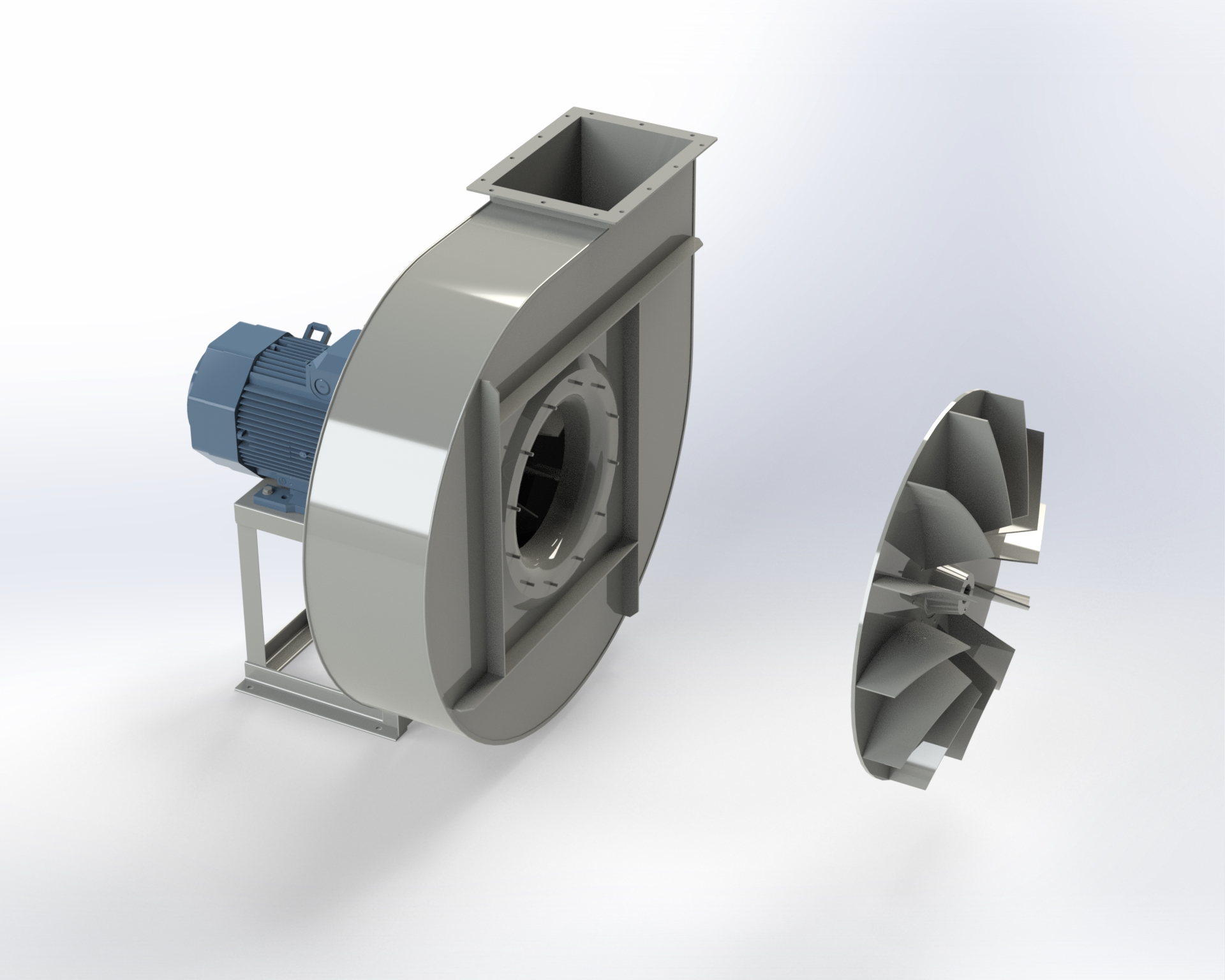 Medium-pressure centrifugal fan. Impeller with open blades. Directly coupled motor.