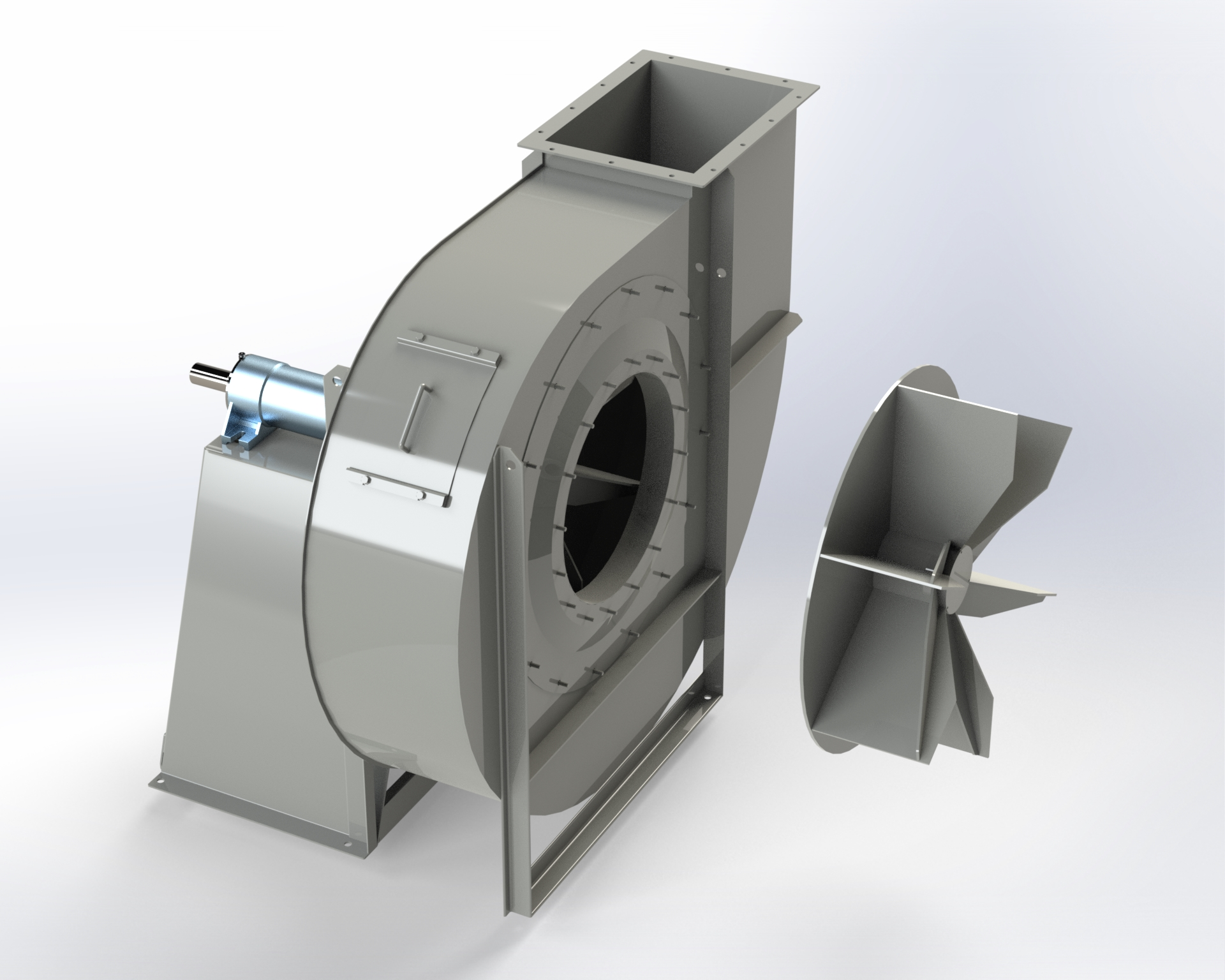 Centrifugal low and medium-pressure fan. Impeller with open blades. Special design for heavy-duty jobs. Belt drive.